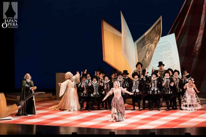 第1幕より(29日) アンジェリーナ(但馬由香)、クロリンダ(横前奈緒)、ティーズベ(吉村 恵)、アリドーロ(上野裕之)、男声合唱