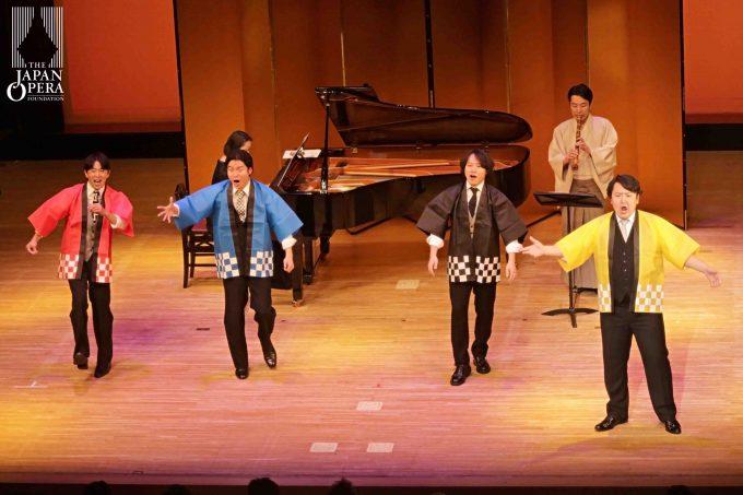 藤原歌劇団クアットロアリア 「お祭りマンボ」 (左から、笹岡慎一郎、和下田大典、有本康人、大塚雄太)
